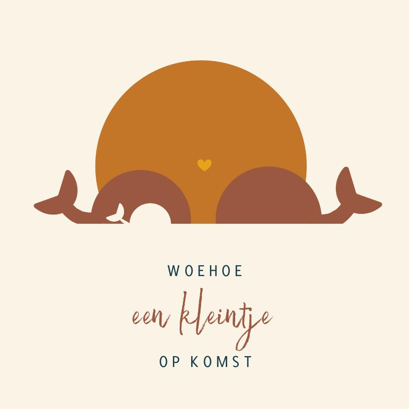 Felicitatiekaarten - Woehoe zwanger felicitatiekaart met illustratie walvissen