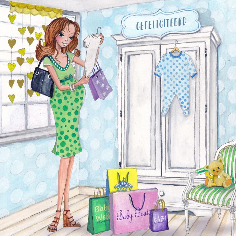 Felicitatiekaarten - ZWANGER baby shop illustratie