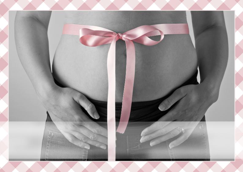 Felicitatiekaarten - zwanger met strik