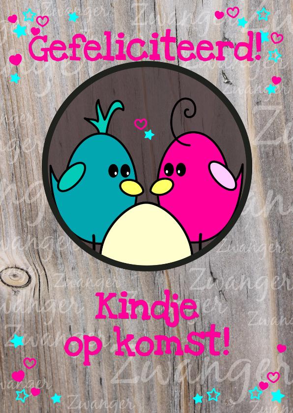 Felicitatiekaarten - Zwanger Vogels en hun ei