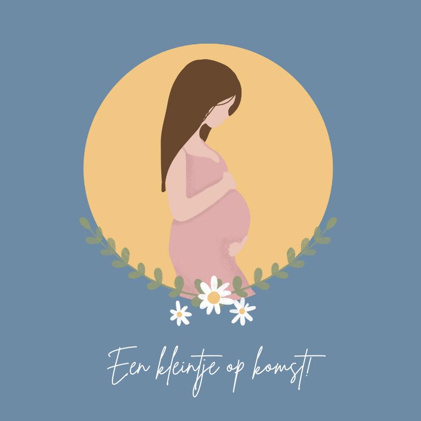 Felicitatiekaarten - Zwangere vrouw met maan en bloemen