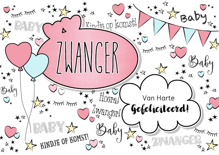 Felicitatiekaarten - Zwangerschap -Hippe felicitatie kaart in handlettering-stijl