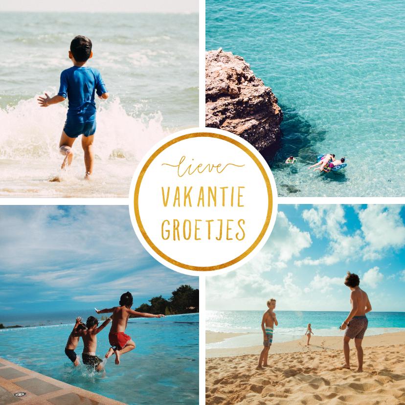 Fotokaarten - Collage 4 foto's vierkant 'Vakantiegroetjes'