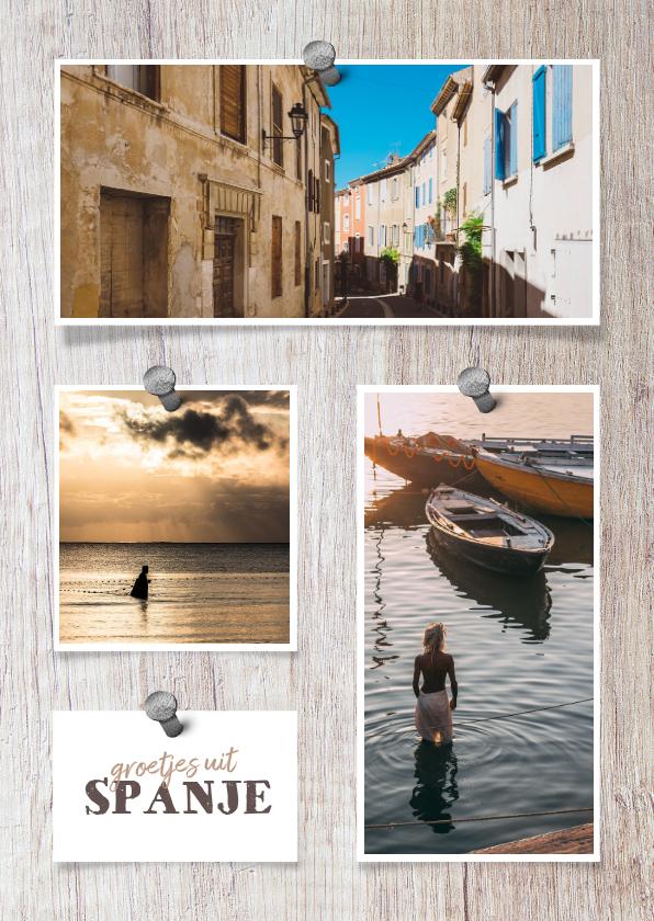 Fotokaarten - Collage  hout met 3 foto's en spijkers