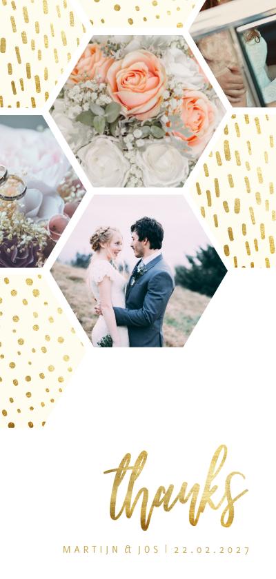 Fotokaarten - collage zeshoek fotocollage met gouden confetti