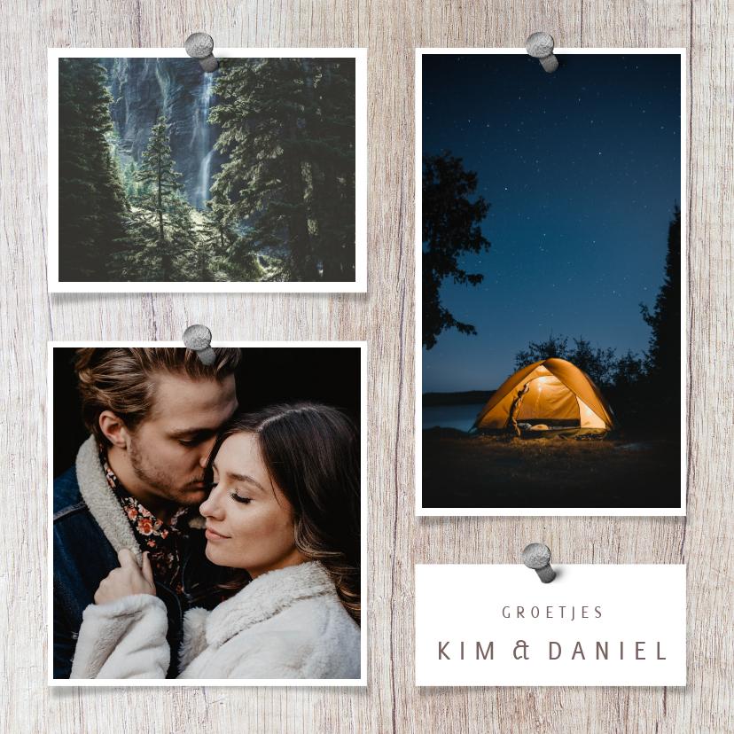 Fotokaarten - collagekaart met houtachtergrond en 3 foto's