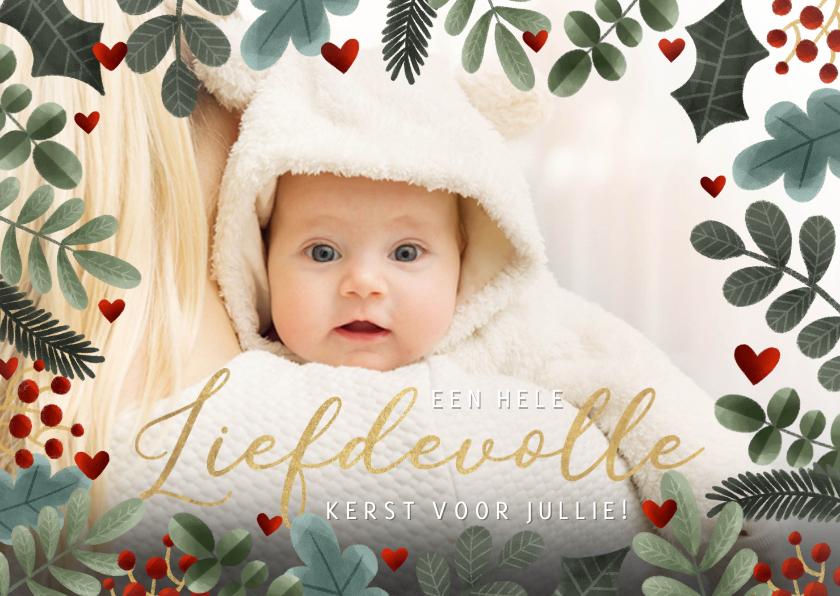 Fotokaarten - Feestelijke kerst fotokaart met een grote foto en takjes