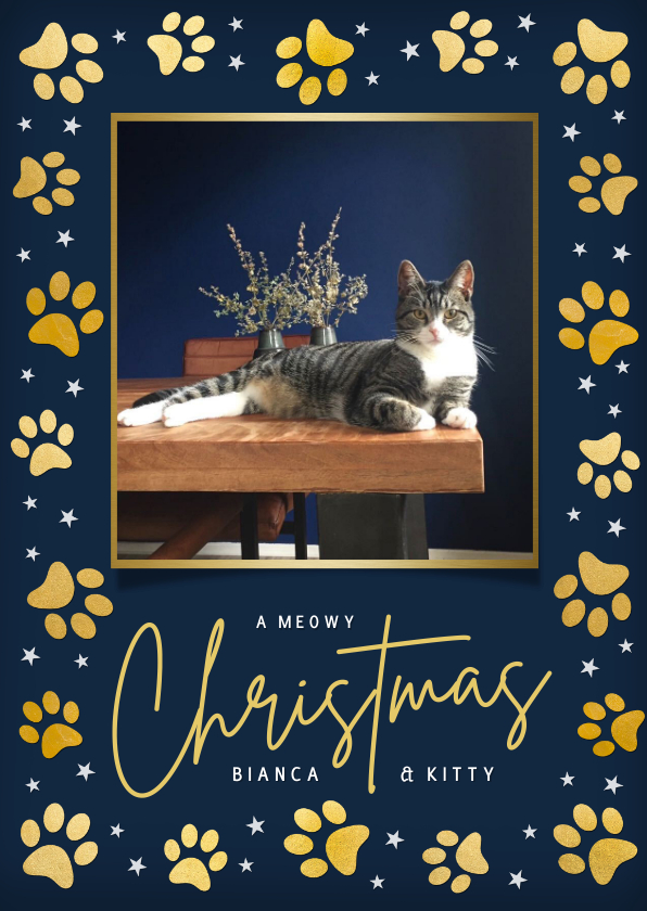 Fotokaarten - Foto kerstkaart hond , poes of kat met gouden pootafdrukjes