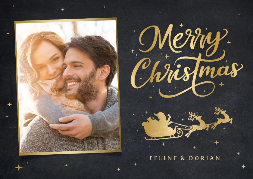Fotokaarten - Foto kerstkaart met gouden kerstman in arreslee