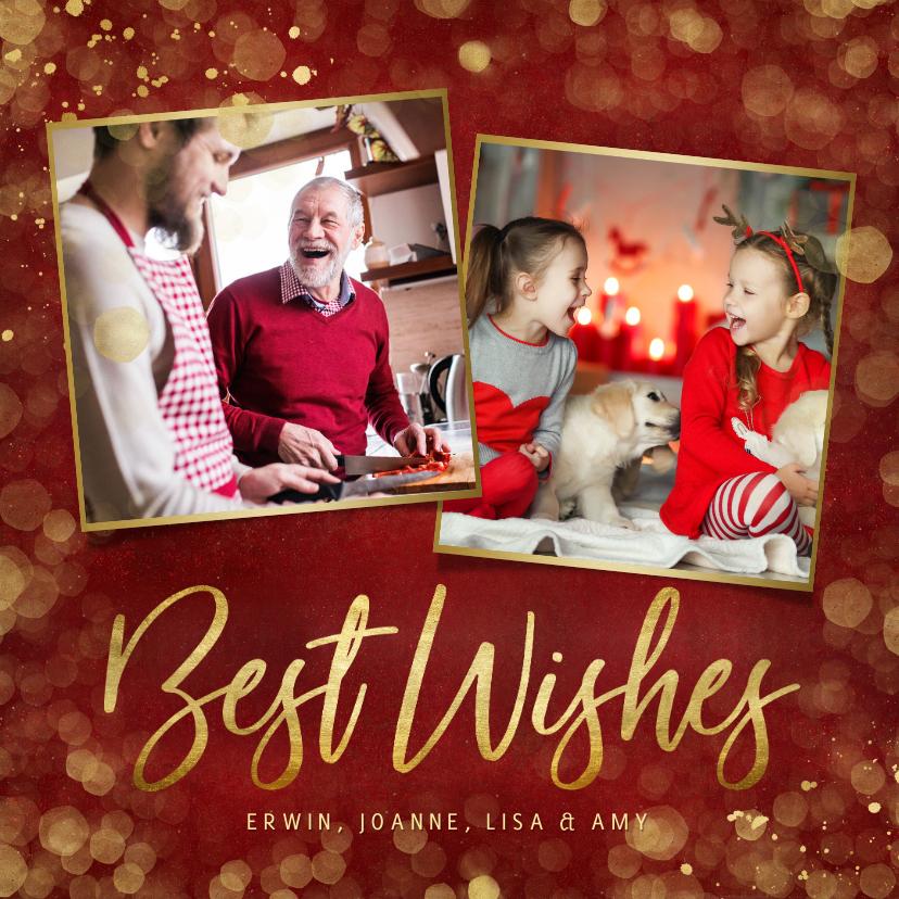 Fotokaarten - Foto kerstkaart rood met goudlook confetti en 2 foto's