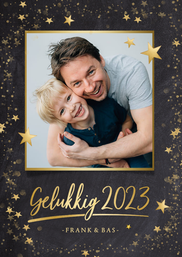 Fotokaarten - Foto nieuwjaarskaart zwart met gouden ster en 1 grote foto