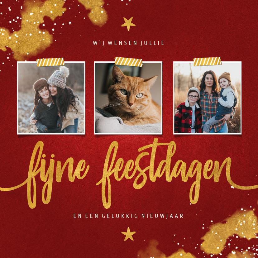 Fotokaarten - Fotocollage Fijne Feestdagen rood met goud