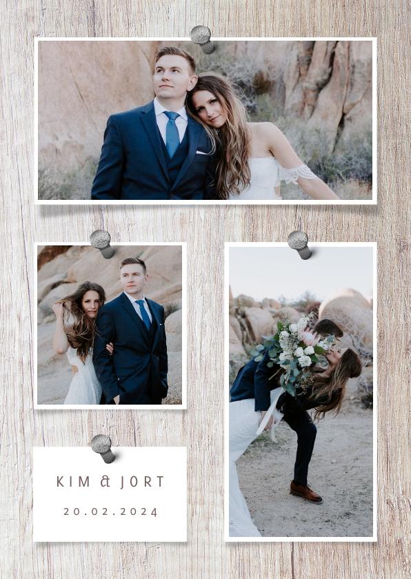 Fotokaarten - fotocollage hout met foto's en spijkers