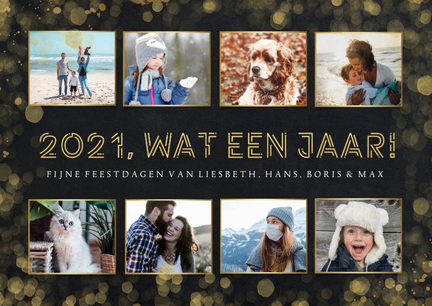 Fotokaarten - Fotocollage kaart kerstmis met 8 foto's - 2021 wat een jaar