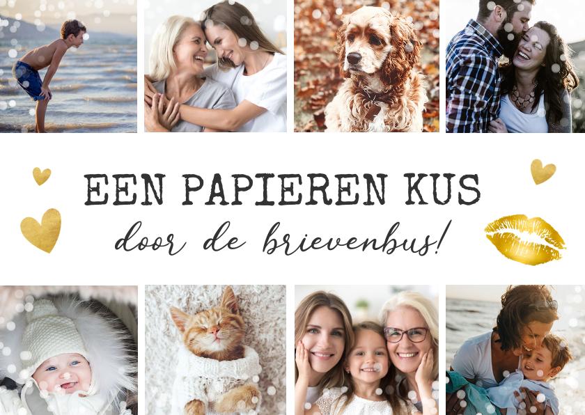 Fotokaarten - fotocollage kaart met 8 foto's - kus in brievenbus
