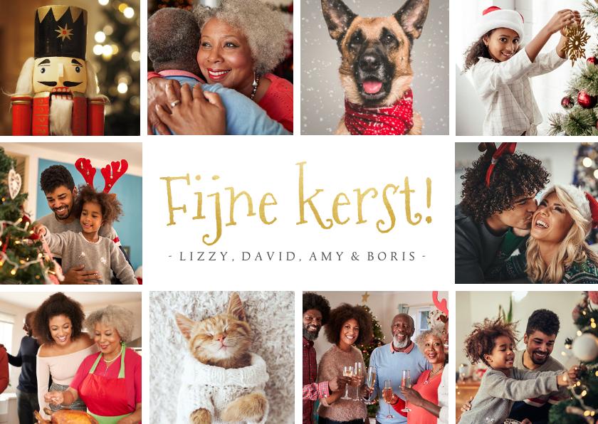 Fotokaarten - Fotocollage kerstkaart met 10 eigen foto's en fijne kerst
