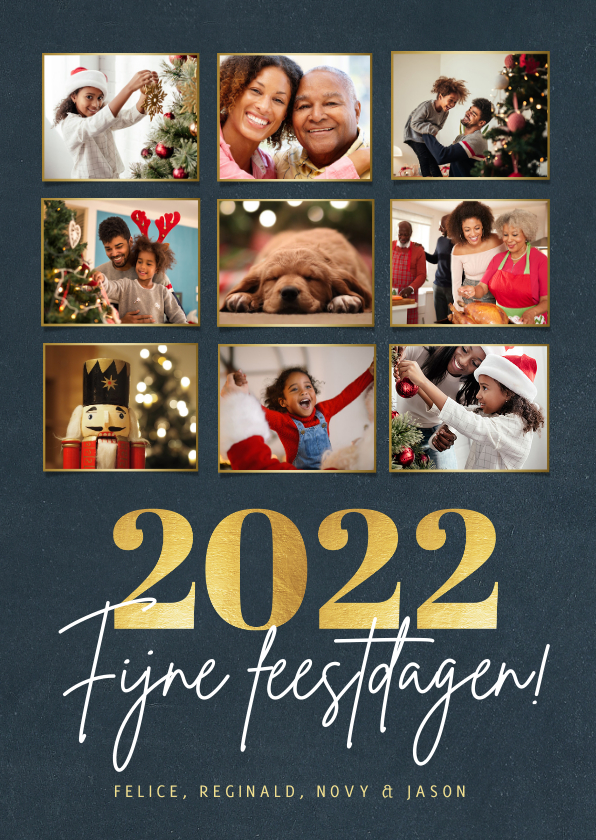 Fotokaarten - Fotocollage kerstkaart met 9 foto en gouden jaartal 2022