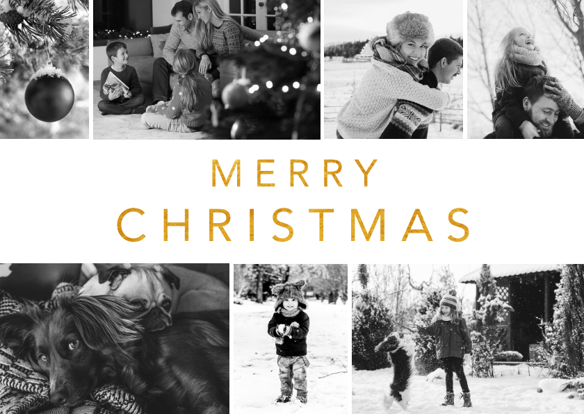 Fotokaarten - Fotocollage kerstkaart met zwart wit foto's