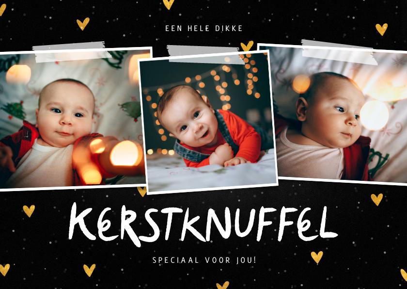 Fotokaarten - Fotocollage kerstknuffel met gouden hartjes