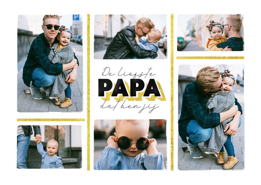 Fotokaarten - Fotocollage liefste papa goud