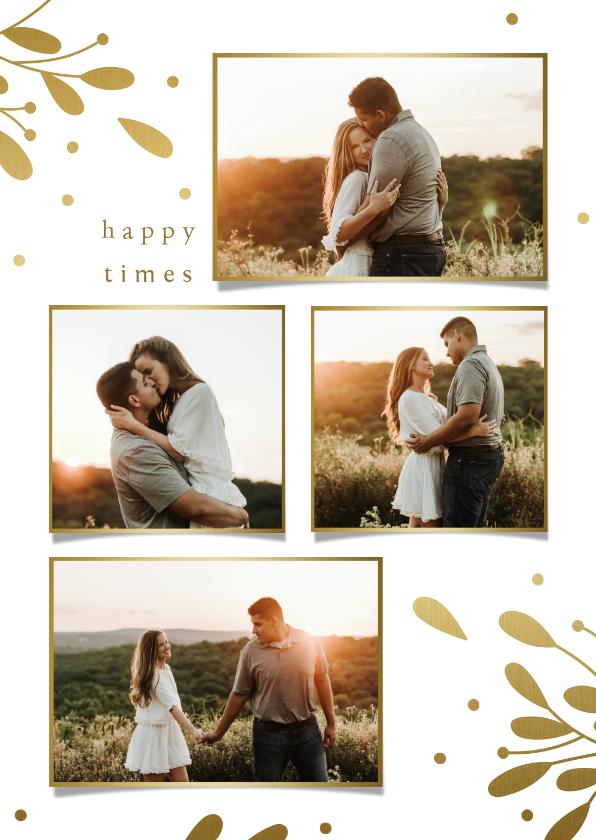 Fotokaarten - Fotocollage met gouden takjes en besjes