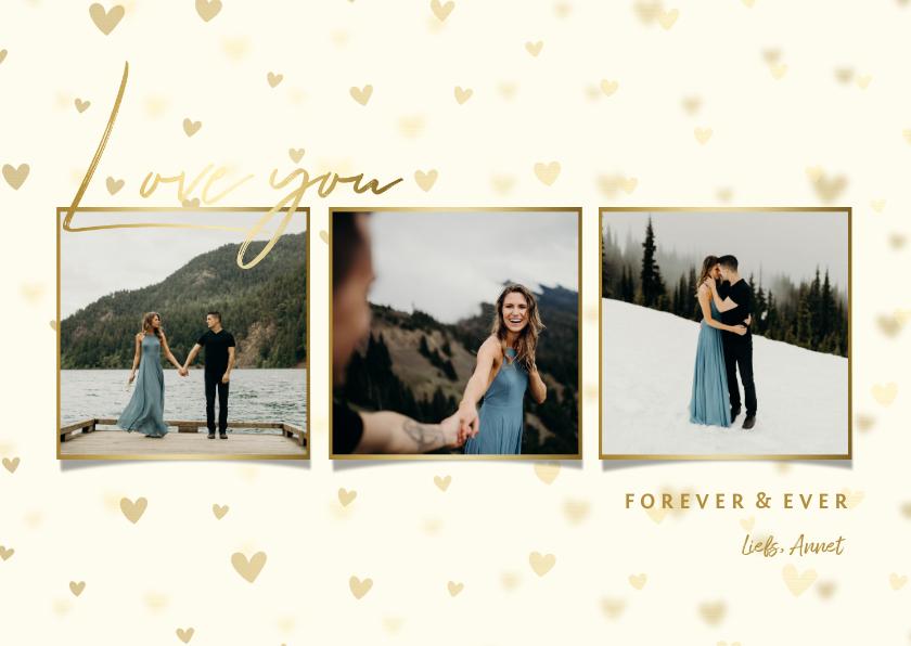 Fotokaarten - fotocollage met hartjes achtergrond