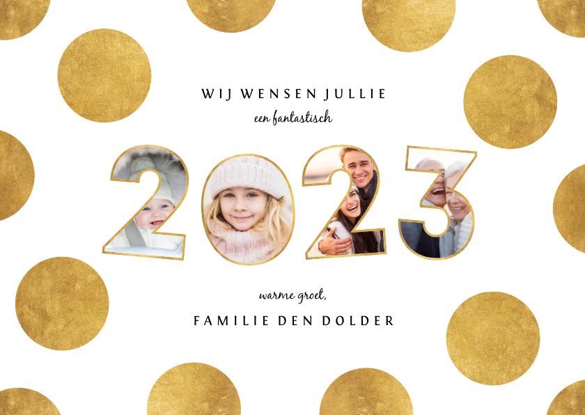 Fotokaarten - Fotocollage speelse 2022 met stippen