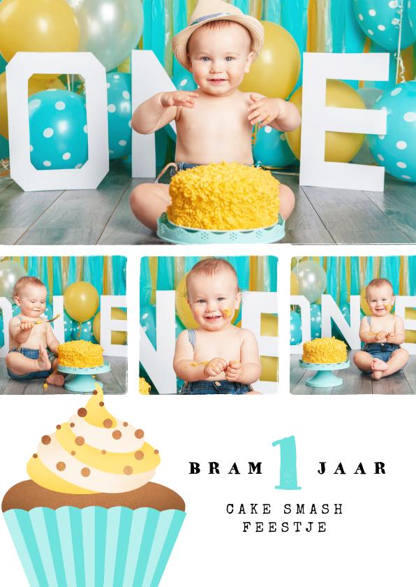 Fotokaarten - Fotokaart 1 jaar cake smash collage cupcake