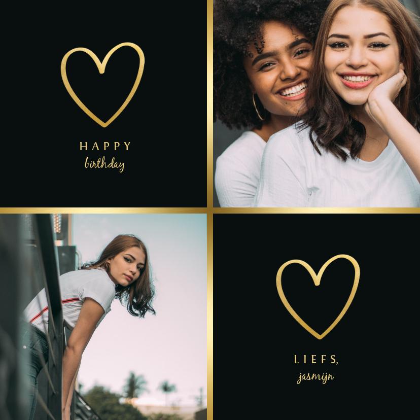 Fotokaarten - Fotokaart 2 foto's met gouden hartjes