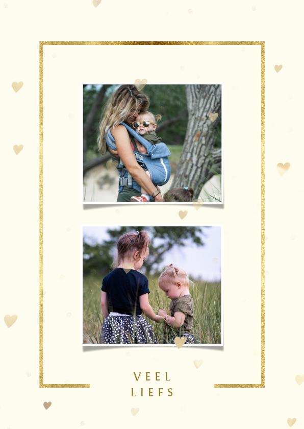 Fotokaarten - Fotokaart 2 foto's met gouden kader en hartjes