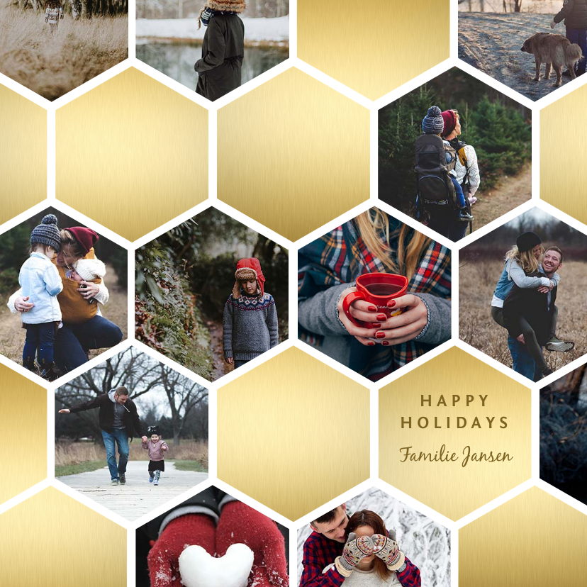 Fotokaarten - Fotokaart collage geometrische vlakken honingraat