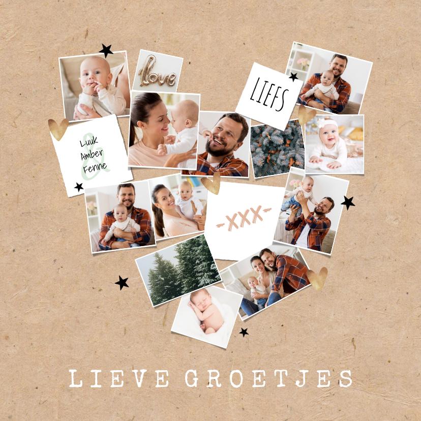Fotokaarten - Fotokaart collage hart feestdagen kraft