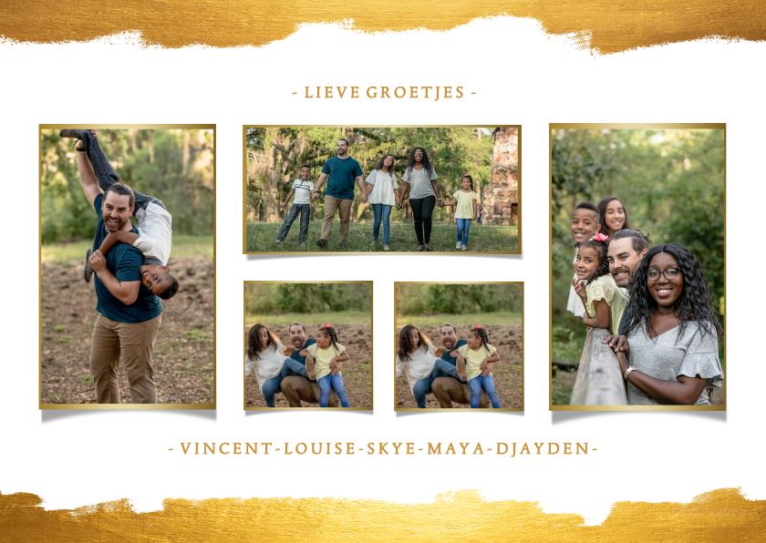 Fotokaarten - Fotokaart collage van 5 foto's met gouden verf stijlvol
