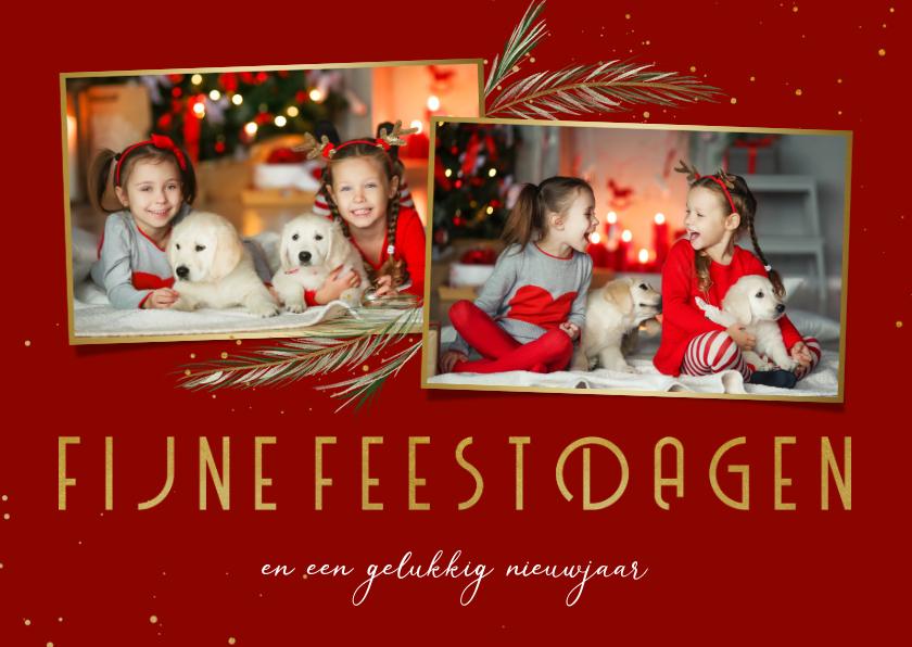 Fotokaarten - Fotokaart dennentakjes 2 foto's fijne feestdagen