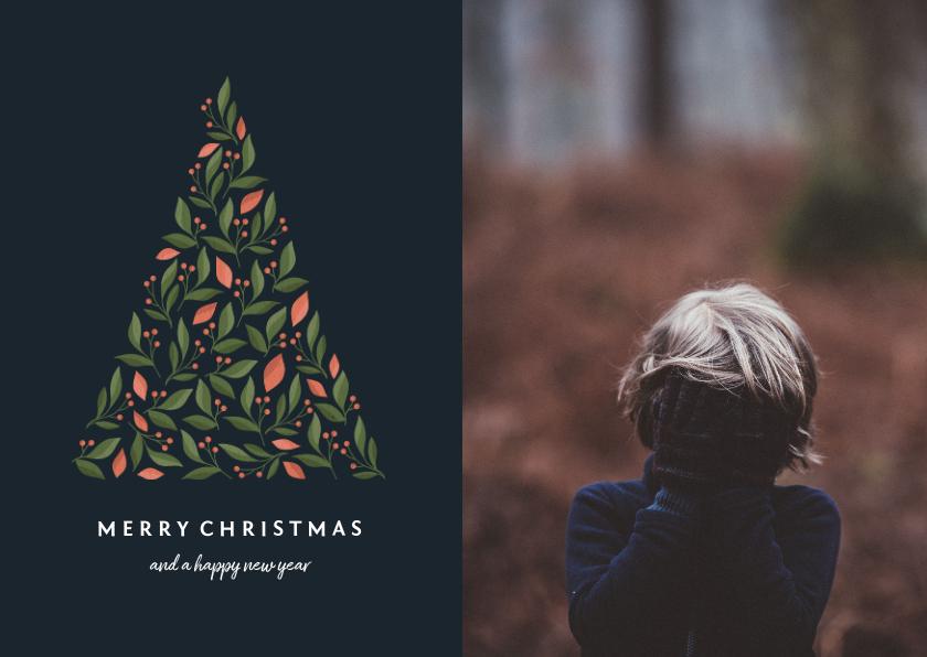 Fotokaarten - Fotokaart donker met botanische kerstboom en foto