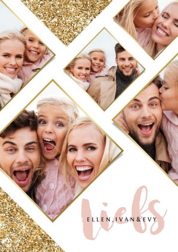 Fotokaarten - Fotokaart feestdagen goudlook glitter fotocollage