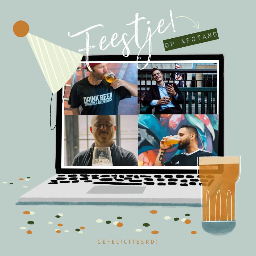 Fotokaarten - Fotokaart feestje bier beeldbellen op afstand laptop