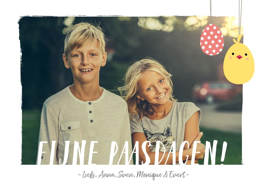 Fotokaarten - Fotokaart fijne pasen met 1 grote foto en paaseitjes