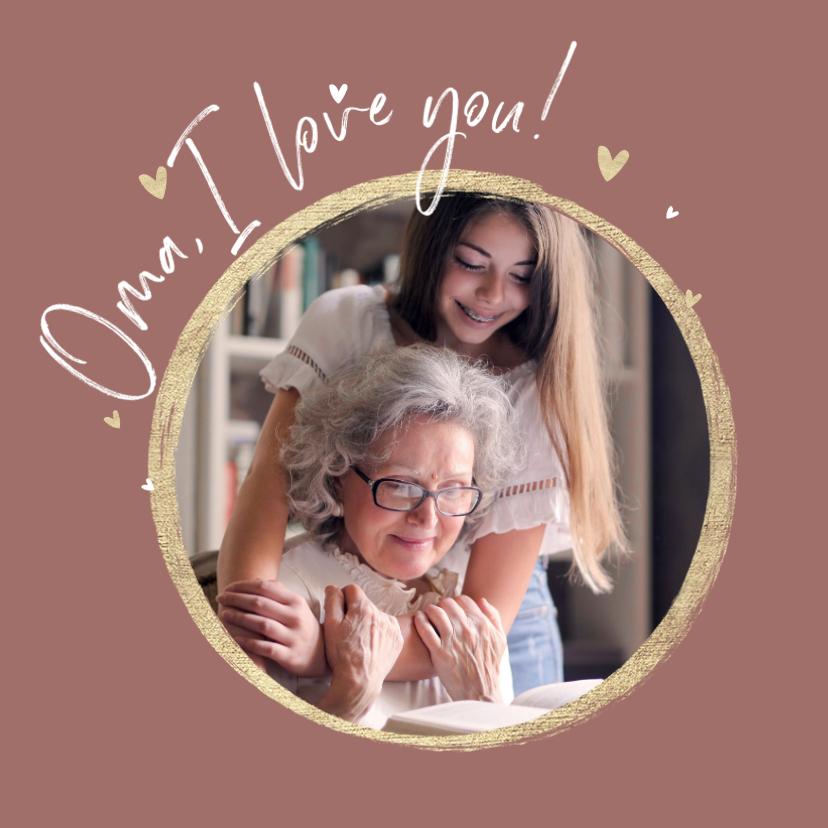 Fotokaarten - Fotokaart foto hartjes goud oma i love you