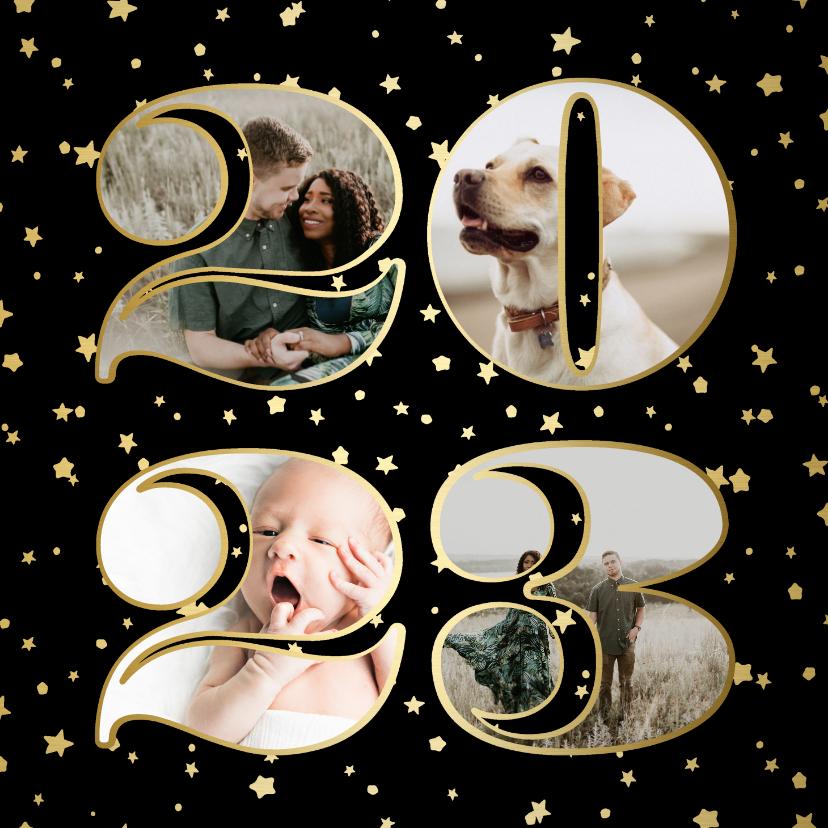 Fotokaarten - Fotokaart fotocollage 2022 sterren goud