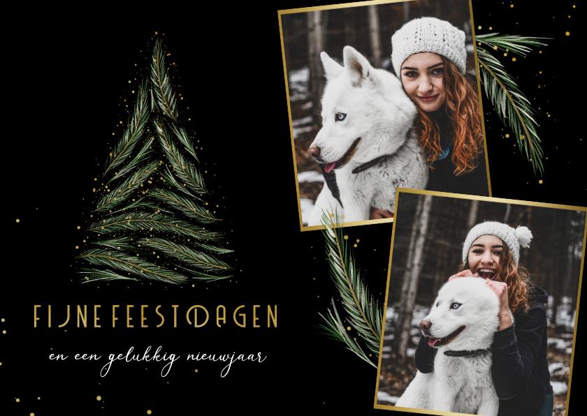 Fotokaarten - Fotokaart fotocollage kerstboom van dennentakjes