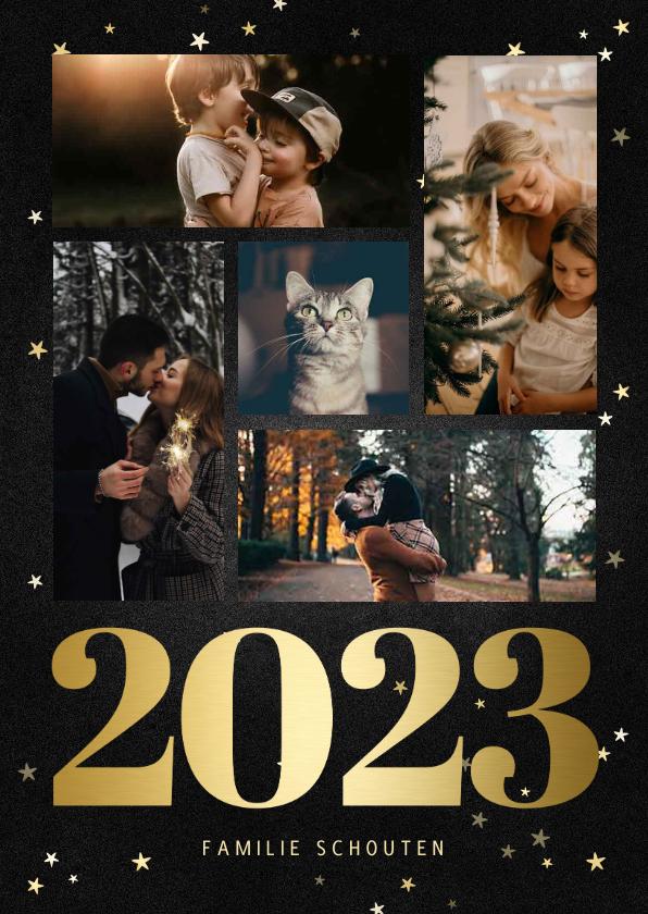 Fotokaarten - Fotokaart fotocollage met gouden 2022 en sterren