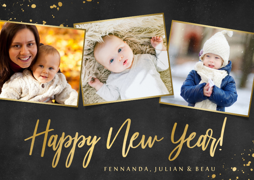 Fotokaarten - Fotokaart fotocollage nieuwjaar zwart met goud en 3 foto's