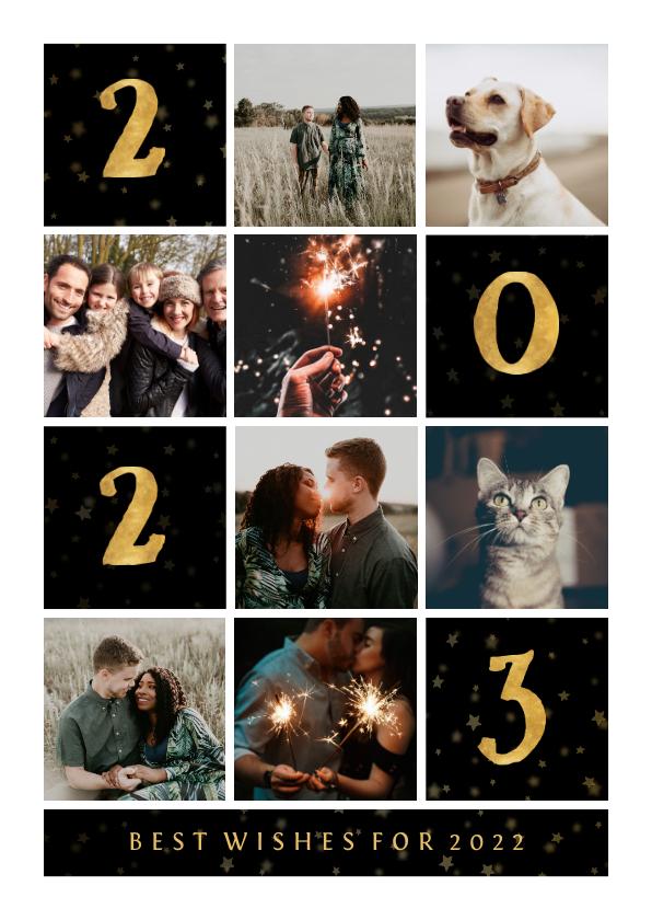 Fotokaarten - Fotokaart gouden 2022 met vakjes en foto's