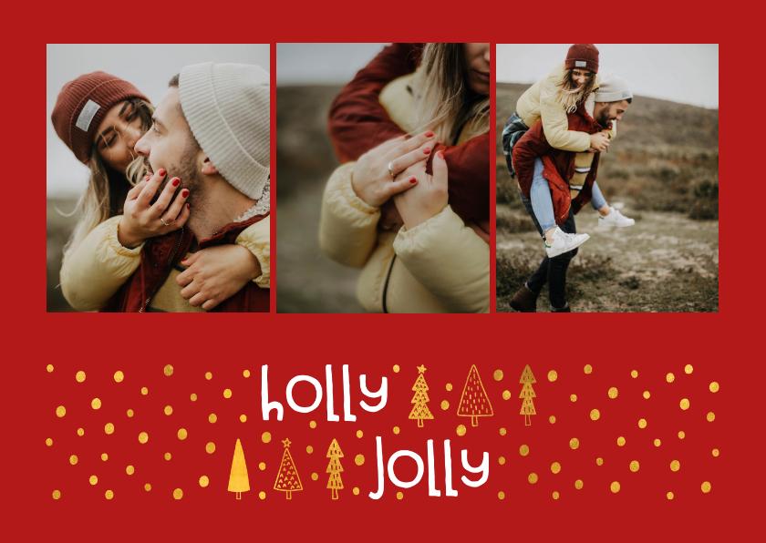 Fotokaarten - Fotokaart 'holly jolly' goudlook met foto's
