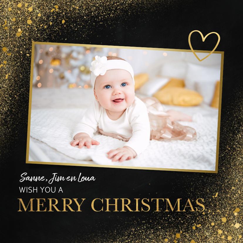 Fotokaarten - Fotokaart in kerstsfeer met goud en merry christmas