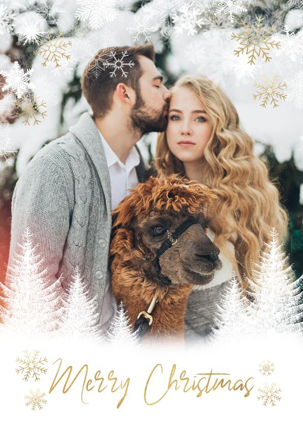 Fotokaarten - Fotokaart kerst boompjes, sneeuwvlokken en 'Merry Christmas'