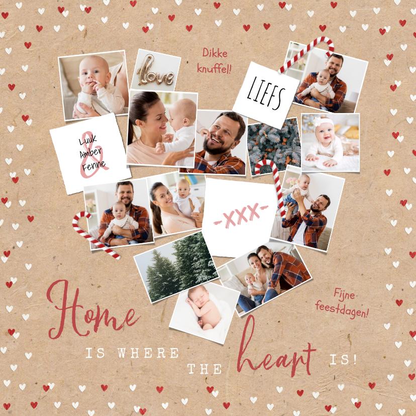 Fotokaarten - Fotokaart kerst hartjes zuurstokken hart liefde
