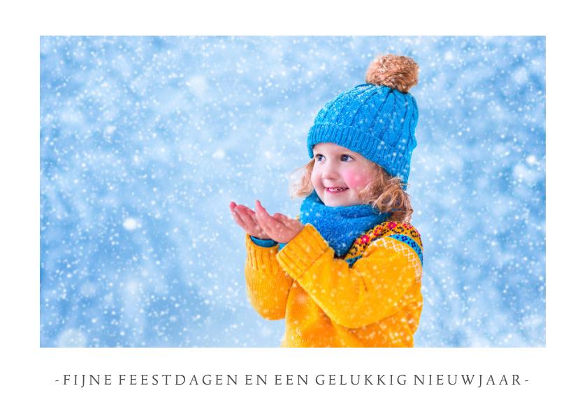 Fotokaarten - Fotokaart kerst wit met 1 grote foto en aanpasbare tekst