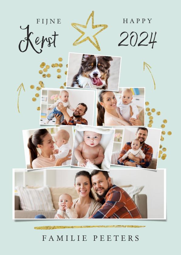 Fotokaarten - Fotokaart kerstboom collage goud confetti ster